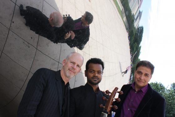 Param Vir, Soumik Datta, and Stephen Burns at Cloud Gate